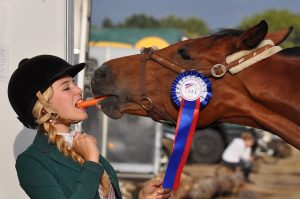 Frau teilt Möhre mit Pferd